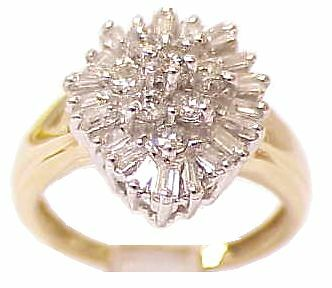 Retro Solid 14K Yellow Gold Diamond Pear Shaped Cluster Estate Ring