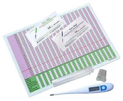 Digital Basal Thermometer Fahrenheit 40 Ovulation 10 Pregnancy Test Kits + Chart