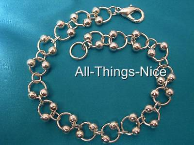 "MAILLE CHAIN Silver Plated Bead Charm 8"" Bracelet Jewellery WHOLESALE Joblot 10"