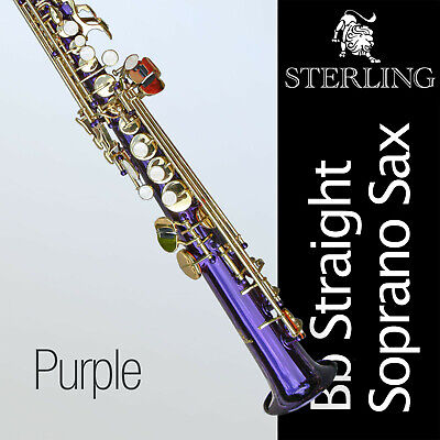 Black Straight Soprano Saxophone • STERLING Bb Sax • With Case and Accessories •