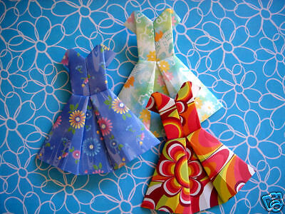 4 X Assorted Handmade Origami Party Dresses