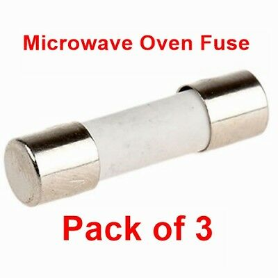 Pack Of 3, Microwave Oven 6.3 Amp 20 mm Ceramic Fuse Fuses 6.3A