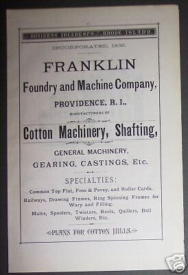 1881 Franklin Foundry & Machine Co. original print Ad