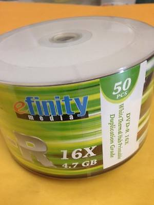 100-pk eFinity 16x DVD-R White Thermal Hub Printable Blank Recordable DVD Media