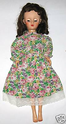 Vintage Collector Doll in Pink Print Dress