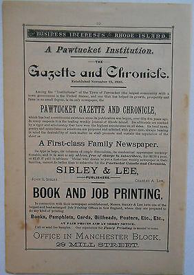 1881 vintage AD Pawtucket Gazette Chronicle Newspaper Printers
