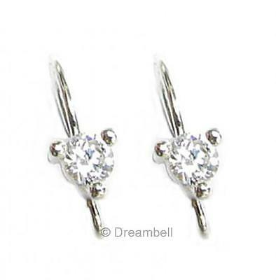 2 STERLING Silver French Hook Earwires CZ Stone Wire