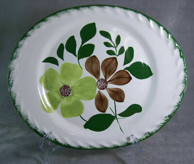 "Southern Pottery Blue Ridge Pie Crust 14"" Oval Serving Platter Green Briar"
