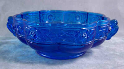Jeannette Glass Aztec Rose Candy Bowl Blue Flash Lovely