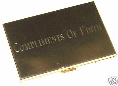 Business card holders desk accessories office supplies office goldtone metal compact business card holder calculator monogram edith reheart Images