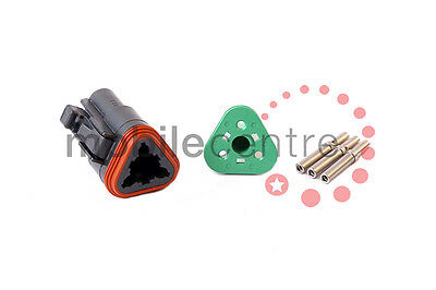 Deutsch DT 06 3S plug W3S wedgelock DT06-3S contacts for 0.5mm > 1.0mm CSA wire