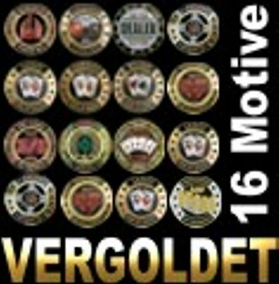 Poker Card Guard, 24 K Vergoldet,  Motivwahl 1 aus 16