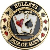 "Poker Card Guard ""Bullets - Pair of Aces"" 24K vergoldet"