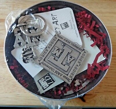 """4"""" Texas A&M University Gift Tin with Pewter Aggie ATM Keyring Pin & Magnet"""