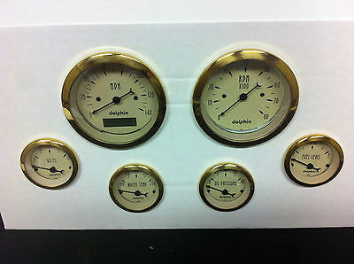 DOLPHIN 6 PRO TAN STREET ROD GAUGES WITH GOLD RINGS