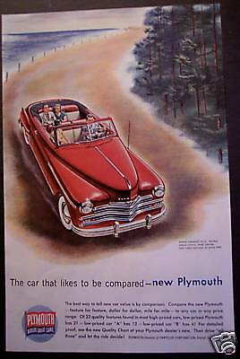red Chrysler Plymouth Car original 1949 Ad