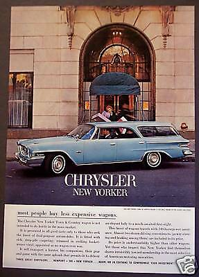 blue Chrysler New Yorker Car Auto vintage 1962 Ad