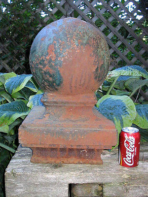 Antique Architectural Victorian Cast Iron Garden Gate Sphere Ball Finial Globe