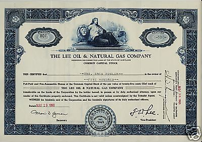 The Lee Oil & Natural Gas Company Maryland Erna Fowler . Lion Vignette