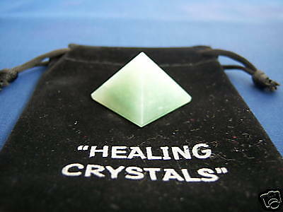 GREEN AVENTURINE CRYSTAL PYRAMID - w/ Free BAG - BLACK^