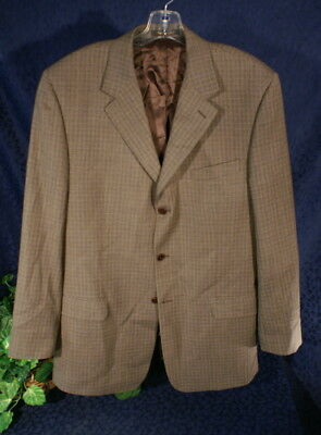 Brown Plaid ZINO OLIVER Wool Sport Coat Blazer 44L