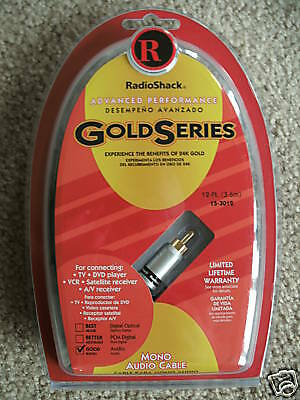 RADIO SHACK Gold Series 12 Foot Mono Audio Cable TV DVD VCR AV 2 Packages    New