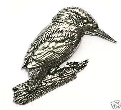 Kingfisher Perched Large Pewter Pin Badge Made in UK