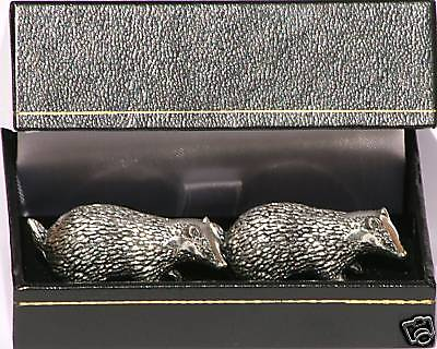 Badger Cufflinks  Pewter Made in UK in Gift Box