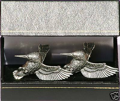Kingfisher Cufflinks Pewter Made in UK NEW Gift Boxed
