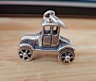 Sterling Silver 20x22x9mm Heavy 5 gram Old Style Antique Car Charm