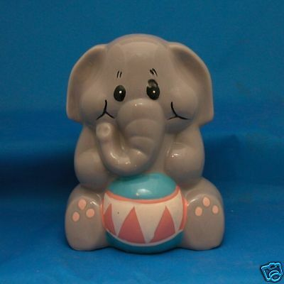1991 Elephant Collectible Coin Bank Child's Room Decor Ceramic
