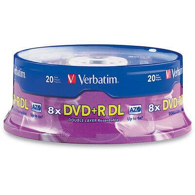 20-pack Verbatim branded 95310 8x DVD+R Double Dual Layer DL 8.5GB Media Disk