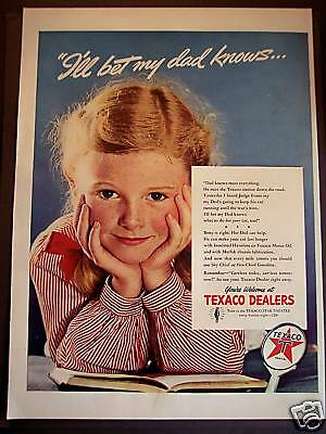 1942 Texaco Fire-Chief Gasoline Little Girl vintage ad