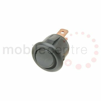 Mini round rocker switch BLACK 15mm hole SPST 12 Volt