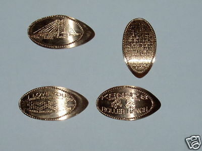 Elongated Penny Stretched smashed set of 4 Burlington  from Kenny's Roller Ranch