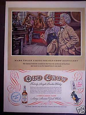 1953 Mark Twain OLD CROW Distillery Bourbon Whiskey ad