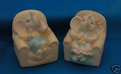 Pair of ELEPHANT BANKS Sitting in Chairs Collectibles