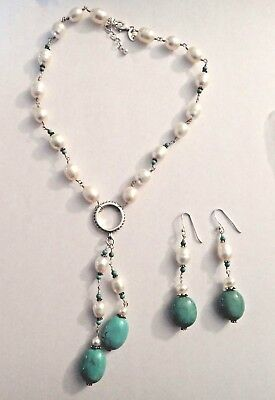 """16-18"""" Sterling Silver White Fresh Water Pearl Turquoise Necklace & Earring Set"""