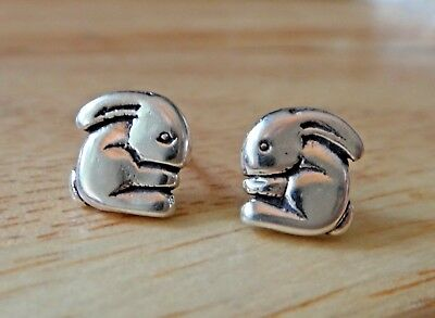 Sterling Silver 9x9mm Small Easter Flop Eared Bunny Rabbit Studs Earrings