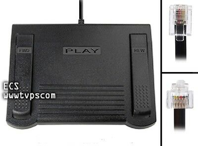New Dictaphone 0502765 RJ11 Foot Pedal for PC Transcribing Transcription