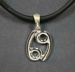 "Zodiac Pendant Cancer on 18"" 3mm Rubber Cord"