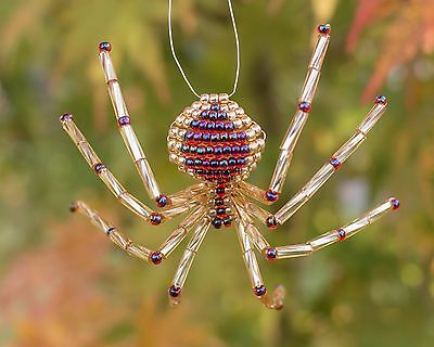 Gold & Garnet Beaded Spider Ornament with Legend of the Christmas Spider story