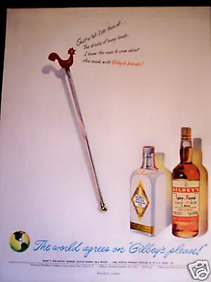 1948 Rooster Stir Stick art Gilbey's Scotch & Gin ad