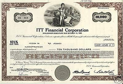 ITT Financial Corporation - USD 10,000 - dd 1976 old bond certificate