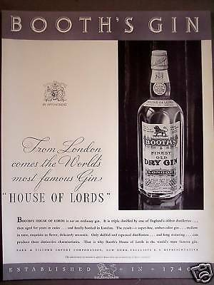 1934 Booth's House of Lords Gin London England Ad