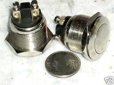 """2 New Large Metal 4 Amp N/O Pushbutton Push Button Switch Flush Mount 3/4"""" Hole"""