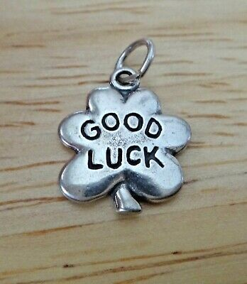 Fine Charms 1 Sterling Silver 17x13mm 4 Leaf Clover say Good Luck Irish