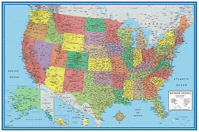 United States USA-US Classic Wall Map Mural and Poster