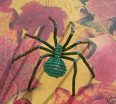 Emerald Green Beaded Spider Pin