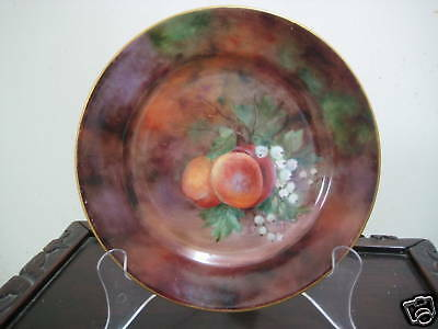 1923 England Hand Painted Fruits Plate–Peaches & Grapes